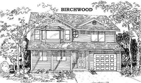 一组素描风格的原木屋图